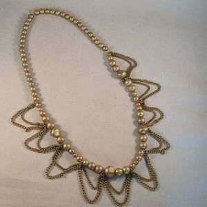 Goldtone bead necklace with chain link detail